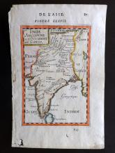 Mallet, Alain Manesson 1683 Hand Coloured Map of Ancient India & Ganges