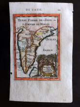 Mallet, Alain Manesson 1683 Hand Coloured Map of India & Bay of Bengal
