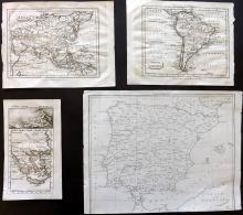 Maps C1750-1803 Mixed Group of 4, Copper Engraved
