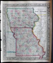 Mitchell, Samuel 1861 Hand Coloured Map of Iowa and Missouri, USA