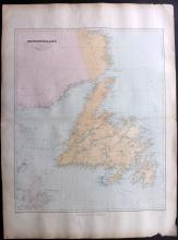 Stanford, Edward - Newfoundland, Canada 1894 Large Map from the London Atlas