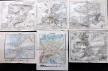 Stieler, Adolf 1881 Group of 6 European Maps