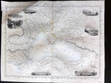 Tallis (Pub) 1858 Map of The Black Sea. Russia Turkey Crimea