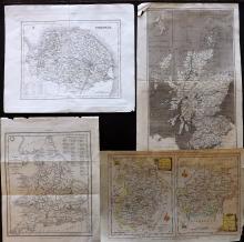 UK C1780-1840 Mixed Group of 4 Engraved Maps