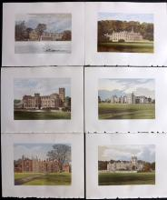 Morris Seats C1870 Group of 6 Colour Printed Woodblock Views