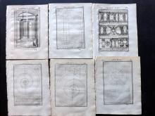 Vignola, Giacomo Barozzi da 1720 Group of 6 Architectural Prints