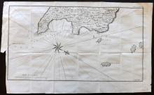 Anson, George C1750 Map of Quibo - Coibo Island, Panama