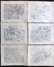 Belgium 1852 Group of 6 Battle Plans by Alison & Johnston. Napoleon
