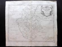 Morden, Robert C1695 Copper Engraved Map of Bedfordshire