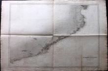 Depot de la Marine 1895 Nautical Chart of Spain Coast - Tarragona to Cape de Creus