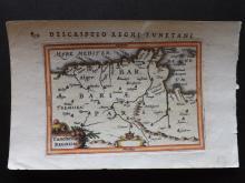 Bertius, Petrus C1600 Hand Coloured Map of North Africa. Algeria Libya Tunisia