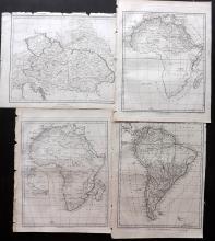Wilkes, John & Neele, Samuel 1796-98 Mixed Group of 4 Maps. Africa, Austria, South America