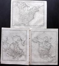 USA, Canada, North America 1797-98 Group of 3 Maps by Wilkes/Neele