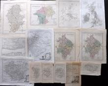 UK C1760-C1870 Lot of 13 Maps. Counties etc