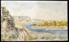 USA - Lister, C? 1897 Watercolour,  Yellowstone River, Billings