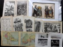 Mixed Prints & Book Pages C1840-1920 Lot of 180+ items