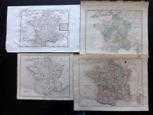 France C1740-1860's Group of 4 Maps by Herman Moll et al
