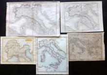 Italy 1803-C1860 Group of 5 Maps