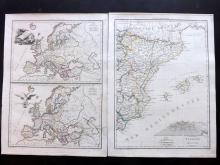 Malte-Brun, Conrad 1812 Group of 3 Maps of Spain, Germany & Europe