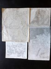 Maps 19th Century. Mixed Lot of 9. Russia, UK, Holland, Greece, Germany