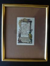 Perrot, A. M. 1824 Framed Map of Herts/Bedford/Huntingdon/Cambridge