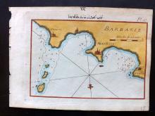 Roux, Joseph C1790 Hand Coloured Map of Monestier. Sousse, Tunisia