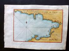 Roux, Joseph C1790 Hand Coloured Map of the Golfe de Valincou. Corsica
