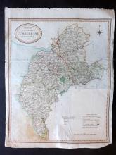 Rowe, Robert 1812 Uncommon Hand Coloured Map of Cumberland