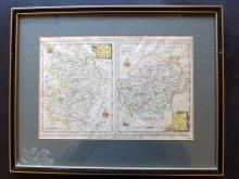 Walpoole & Hogg 1784 Framed Hand Col Map of Bedford/Hertfordshire