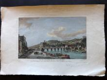 After Jean-Baptiste Lallemand C1816 Large Hand Coloured Print of Lyon, France