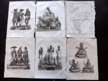 India C1800's Lot of 9 Prints + Map from Wilkes's Londinensis