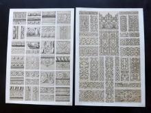 Jones, Owen 1856 Group of 6 Architectural Design Prints. Elizabethan, Chinese