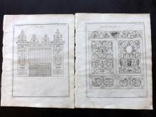 Langley, Batty 1770 Group of 3 Architectural Prints. Gates