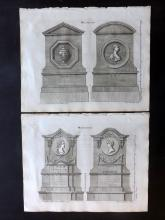 Langley, Batty 1770 Group of 4 Architectural Prints. Monuments