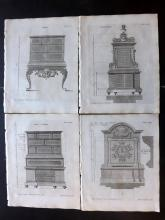 Langley, Batty 1770 Group of 5 Architectural Prints. Furniture etc