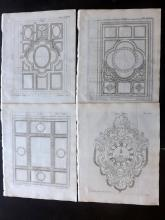 Langley, Batty 1770 Group of 6 Architectural Prints. Ceilings, Clocks
