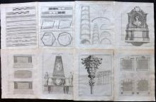 Langley, Batty 1770 Lot of 18 Architectural Prints