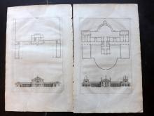 Palladio, Andrea 1721 Pair of Architectural Prints. PL 34 & 36