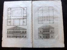 Palladio, Andrea 1721 Pair of Architectural Prints. PL 56 & 59