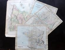 Cruchley, George 1843 Group of 3 Hand Coloured Maps, plus one other