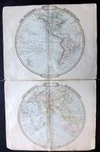 Cruchley, George 1843 Pair of Hand Coloured Hemisphere Maps