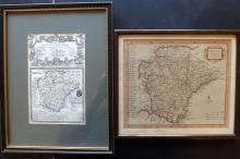 Devon 18th Century Pair of Framed Hand Col Maps by Morden & Owen/Bowen