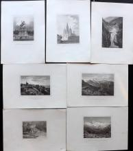 Austria 1870's Lot of 7 Steel Engravings by von Ruthner