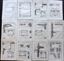 Blondel, Jacques-Francois 1737 Lot of 12 Architectural Plans