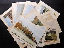 Kent, UK. Lot of 9 Victorian Watercolours by an Anonymous Artist, 1868. Many Folkestone and area