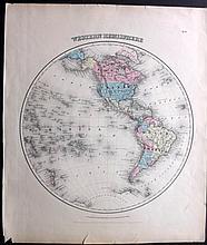 Colton, Joseph Hutchins C1856 Pair of Hand Coloured Hemisphere Maps