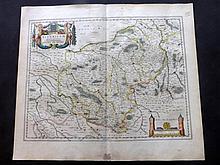 Blaeu, Willem C1645 Hand Coloured Map. Bourges, France