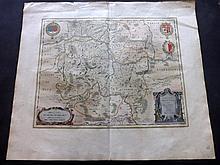 Blaeu, Willem C1640 Hand Coloured Map. Metz, France