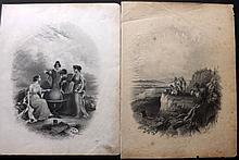 Colton, Joseph Hutchins & Johnson, Alvin Jewett C1856-C1865 Pair of Atlas Frontispieces depicting Native Americans & Globe
