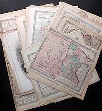 Colton, Joseph Hutchins & Johnson, Alvin Jewett C1855-C1870's Large Mixed lot of 50+ Maps. US & States
